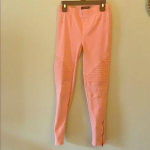 Beulah Pink Moto Leggings